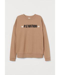 H&M+ Sweatshirt aus Baumwolle Beige
