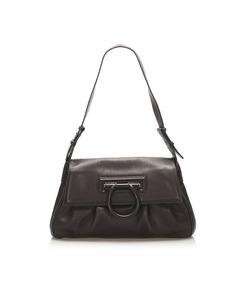 Ferragamo Gancini Leather Shoulder Bag Brown