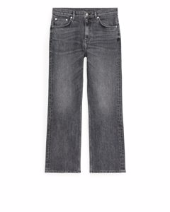 Flared Cropped Stretch Jeans Washed Black