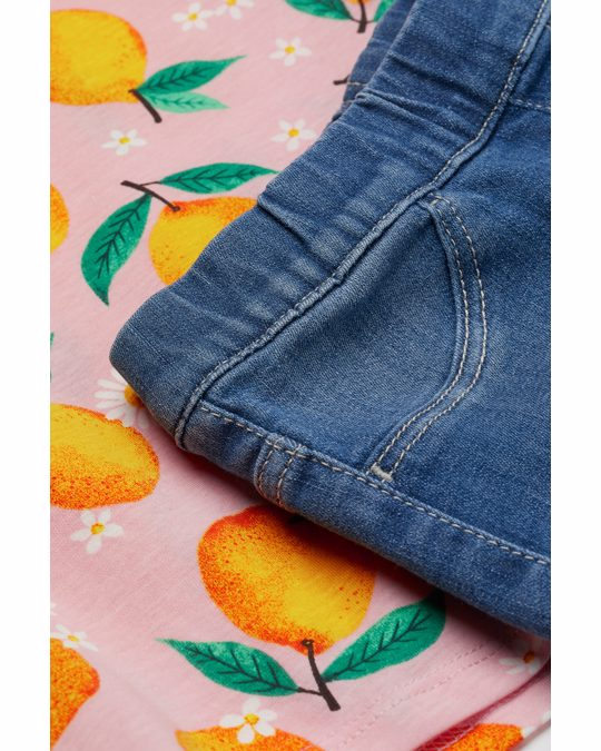 H&M 2-piece Set Denim Blue/oranges