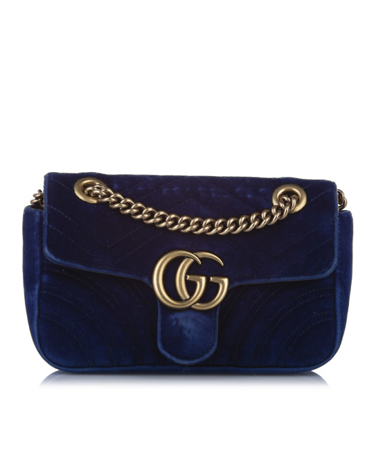 Gucci Gucci Mini Gg Marmont Matelasse Velvet Crossbody Bag Blue
