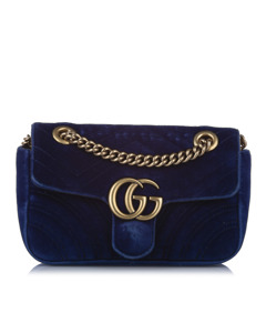 Gucci Mini Gg Marmont Matelasse Velvet Crossbody Bag Blue