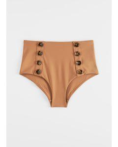 High-Waist-Bikinihose mit Zierknöpfen Braun