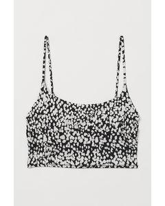 Wattiertes Bikinitop Schwarz/Weiß gemustert