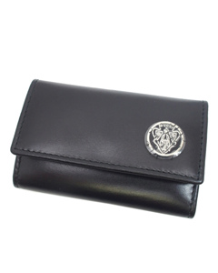 Gucci Crest Leather Key Holder Black