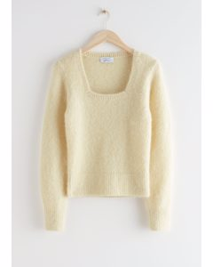 Voluminous Sleeve Square Neck Top Light Yellow