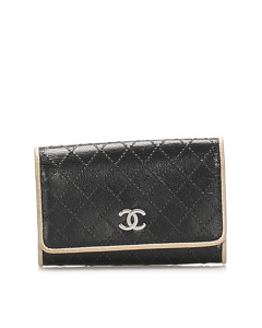 Chanel Cc Lambskin Leather Key Holder Black
