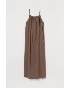 Mouwloze Maxi-jurk Donkertaupe