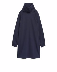 High Neck Sweatshirt Dress Blue