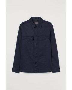 Skjortjacka I Linmix Marinblå