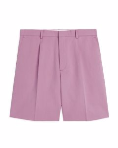 Pleated Linen Shorts Dusty Pink