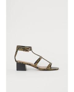 Sandaletten mit Blockabsatz Khakigrün/Schlangenmuster