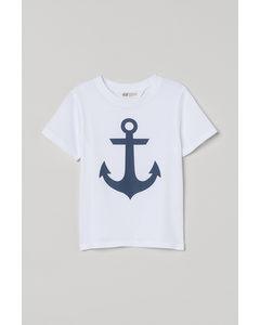 T-Shirt mit Druck Weiß/Anker