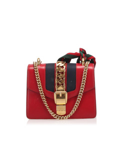 Gucci Mini Sylvie Leather Chain Shoulder Bag Red