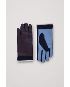 Colour-block Leather Gloves Navy / Light Blue / Dusty Pink