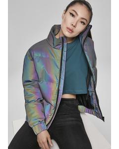 Damen Ladies Iridescent Reflectiv Puffer Jacket