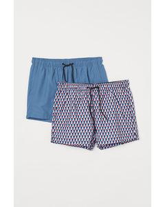 2er-Pack Badeshorts Blau/Rot gemustert