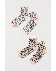 2 Paar Gemusterte Socken Hellbeige/Weiß