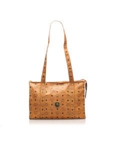 Mcm Visetos Leather Tote Bag Brown