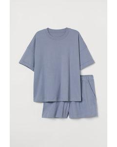 H&M+ Pyjama aus Baumwolljersey Blau