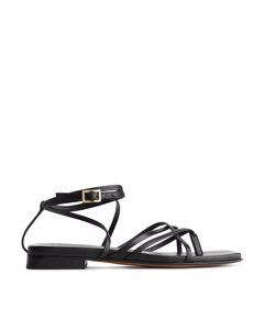 Strappy Leather Sandals Black