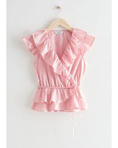 Ruffle Wrap Top Light Pink
