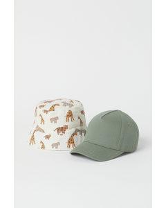 Cap und Sonnenhut Khakigrün/Tiere
