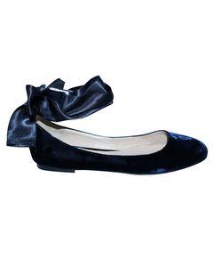 Dark Blue Velvet Ballerinas