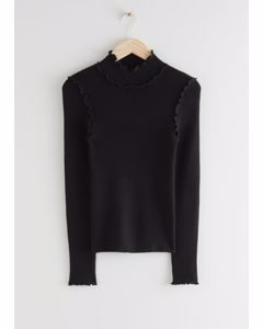 Fitted Mock Neck Frill Rib Sweater Black