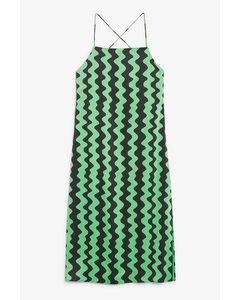 Cross-back Satin Dress Green And Black Pattern