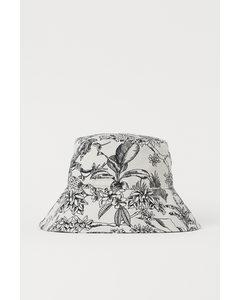 Anglerhut aus Baumwolle Cremefarben/Schwarz gemustert
