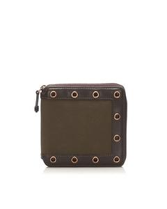 Celine Zip Around Canvas Small Wallet Brown
