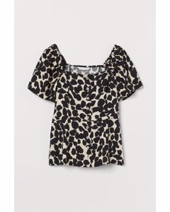 Bluse mit Puffärmeln Hellbeige/Schwarz gemustert