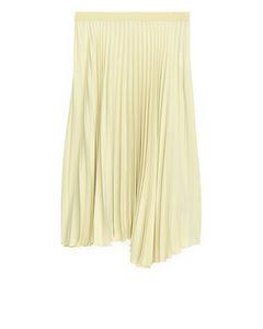 Pleated Asymmetric Skirt Light Beige