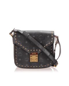 Mcm Studded Visetos Patricia Leather Crossbody Bag Black