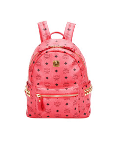 Mcm Visetos Dual Stark Leather Backpack Red