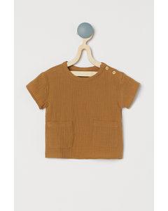 Doppelt gewebtes Hemd Hellbraun