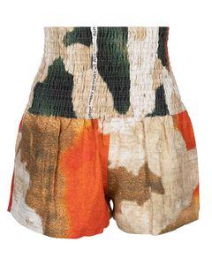 Acne Studios Natural Supreme Wall Printed Linen Shorts