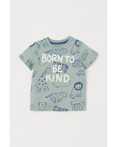 T-Shirt aus Baumwolle Hellgrün/Tiere