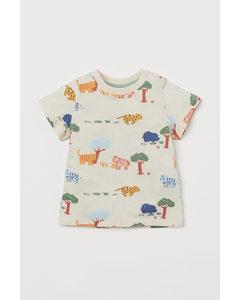 T-Shirt aus Baumwolle Naturweiß/Tiere