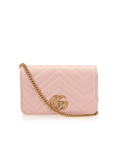 Gucci Gg Marmont Leather Crossbody Bag Pink
