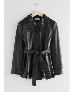 Belted Laser Cut Leather Jacket Black