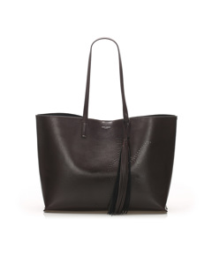 Ysl Tassel Leather Shopping Tote Bag Brown
