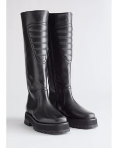 Topstitched Tall Leather Boots Black