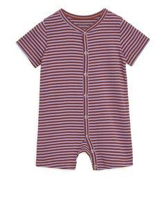 Short-sleeved Pyjama Onesie Lilac/brown