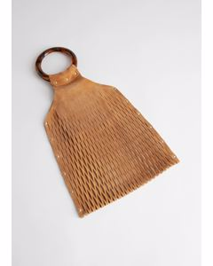 Circle Handle Suede Cut Out Clutch Camel