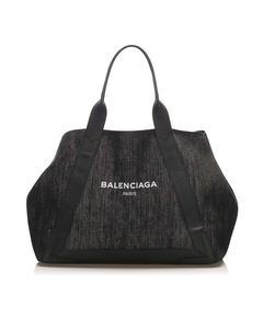 Balenciaga Denim Cabas Tote Bag Blue