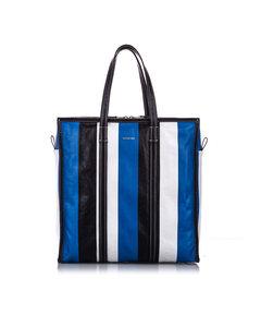 Balenciaga M Bazar Shopper Lambskin Leather Tote Bag Blue