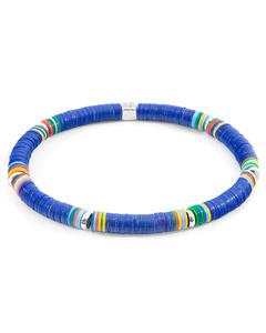 Anchor & Crew Blue Nakuru Silver And Vinyl Disc Bracelet