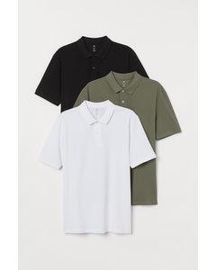 3-pack Pikétröja Regular Fit Vit/khakigrön/svart